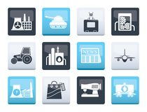 Business and industry icons over color background. Vector icon set stock illustration