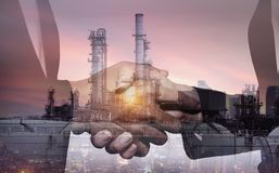 Business industry in petroleum cooperation agreement concept. stock photo
