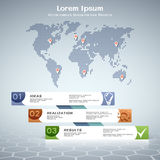 Business info-graphic design with dotted world map. Business info-graphic design with numbered steps and dotted world map Royalty Free Illustration