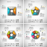 4 in 1 Business Infographic Bundle Stock Photos