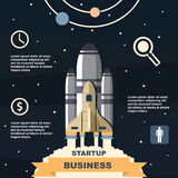 Business infographic, business template, rocket, launch, business steps, flat design. Website, fly, spaceship, economy, cloud, innovation, business, concept Stock Photography