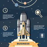 Business infographic, business template, rocket, launch, business steps, flat design Royalty Free Stock Photography