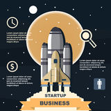 Business infographic, business template, rocket, launch, business steps, flat design. Website, fly, spaceship, economy, cloud, innovation, business, concept Stock Photo