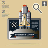 Business infographic, business template, rocket, launch, business steps, flat design Royalty Free Stock Image