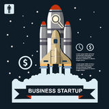 Business infographic, business template, rocket, launch, business steps, flat design Royalty Free Stock Images