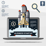 Business infographic, business template, rocket, launch, business steps, flat design Stock Photo