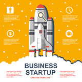 Business infographic, business template, rocket, launch, business steps, flat design Stock Image
