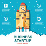 Business infographic, business template, rocket, launch, business steps, flat design Stock Photography