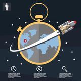 Business infographic, business template, rocket, launch, business steps, flat design Royalty Free Stock Photos