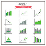 Business Infographic Colorful set Charts and Diagrams gray Green Royalty Free Stock Photo
