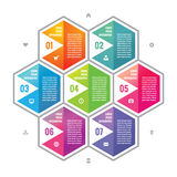 Business infographic concept colored hexagon blocks in flat style design. Steps or numbered options infographic vector blocks. Royalty Free Stock Photography