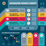 Business infographic concept layout in flat design style for presentation, booklet, website and other design projects. Royalty Free Stock Images