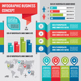 Business infographic concept layout in flat design style for presentation, booklet, website and other design projects. Stock Image