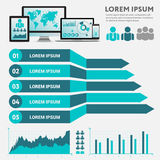 Business infographic concept -  set of infographic elements in flat design style for presentation, booklet, website. Big set Royalty Free Stock Images