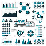 Business infographic concept -  set of infographic elements in flat design style for presentation, booklet, website. Vector Royalty Free Stock Images