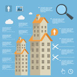 Business infographic construction of apartment houses on flat design Royalty Free Stock Photo