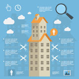 Business infographic construction of apartment houses on flat design Royalty Free Stock Photos