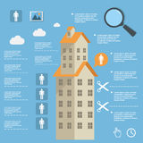 Business infographic construction of apartment houses on flat design Royalty Free Stock Images