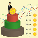 Business infographic with 3d money chart and diagrams, flat design. Digital vector image Stock Photo
