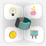 Business infographic with 3d pie chart and idea, money and diagram icons, flat design. Digital vector image Stock Photo