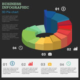 Business infographic. 3D pie chart. Layout for your options or steps. Investments, dealers, red, concept, sign, , brokers, success, presentation, diagram, orange Royalty Free Stock Photo
