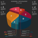 Business infographic. 3D pie chart. Layout for your options or steps. Investments, dealers, red, concept, sign, , brokers, success, presentation, diagram, orange Royalty Free Stock Image