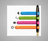 Business infographic design template. Colored ink pen. Royalty Free Stock Photography