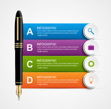 Business infographic design template. Colored ink pens. Stock Photography