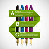 Business infographic design template. Colored ink pens. Royalty Free Stock Photos
