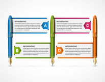 Business infographic design template. Colored ink pens. Vector illustration Vector Illustration