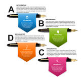Business infographic design template. Colored ink pens. Vector illustration Royalty Free Illustration