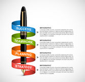 Business infographic design template. Colored ink pens. Stock Photo