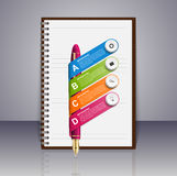 Business infographic design template. Ink pen and notepad. Vector illustration Stock Illustration