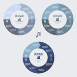 Business infographic diagram blue circle in flat design. Layout for your options or steps. Abstract pattern for background. Business infographic circle in flat Royalty Free Stock Image