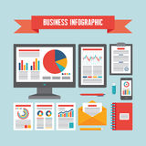 Business Infographic Documents - Vector Concept Illustration Stock Images