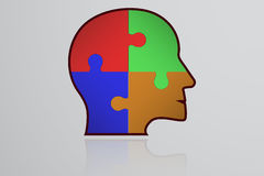 Business infographic element. Head shape icon with colorful puzzle. Pieces inside. Connected jigsaw in shape of human head with thick stroke with own reflection Royalty Free Stock Photo