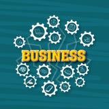 Business infographic elements on cogwheel. Stock Photos