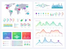 Business infographic elements, flowing graphics, stock market reports and workflow charts vector set. Infographic chart business, report financial market Stock Image