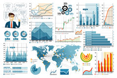 Business Infographic elements set in flat design style for presentation. vector illustration Stock Image