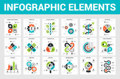 Business Infographic Elements. Vector illustration of 18 business infographic elements stock illustration