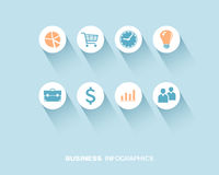 Business infographic with flat icons set Stock Photography
