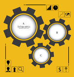 Business Infographic with Gear Background Royalty Free Stock Photo