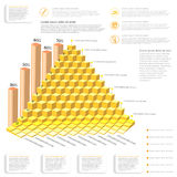 Business infographic gold from cubes and icons Royalty Free Stock Images