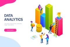 Business infographic or growth chart. small people build a business process. Discussion of plans for business. Development. Let to success. Vector isometric 3d royalty free illustration