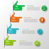 Business infographic hand-style concept. Template with 4 options or steps with text and icons. Can be used for workflow layout, banner, chart, web design Stock Images