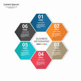 Business infographic hexagon in flat design. Layout for your options or steps. Design, element, internet, modern, shadow, symbol, , web, 3d, honeycomb, icon stock illustration