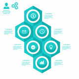Business infographic hexagon in flat design. Layout for your options or steps. Design, element, internet, modern, shadow, symbol, , web, 3d, honeycomb, icon royalty free illustration