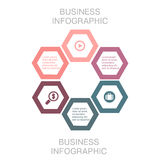 Business infographic hexagon, flat design, on white background. Design, element, internet, modern, shadow, symbol, , web, 3d, honeycomb, icon, concept, black Stock Image