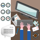 Business infographic with icons, computer and typing keyboard, flat design. Digital vector image Royalty Free Stock Photo