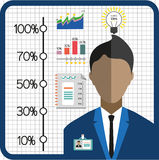 Business infographic with icons, person, charts and badge, flat design Stock Image